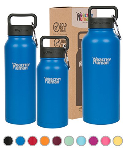 Healthy Human Stainless Steel Insulated Water Bottle Thermos - BPA Free Cap with Hydro Guide & Carabiner Set - Bahama - 40 oz