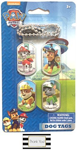 Nickelodeons PAW Patrol Dog Tag Necklace with 1 Chain and 4 Interchangeable Tags