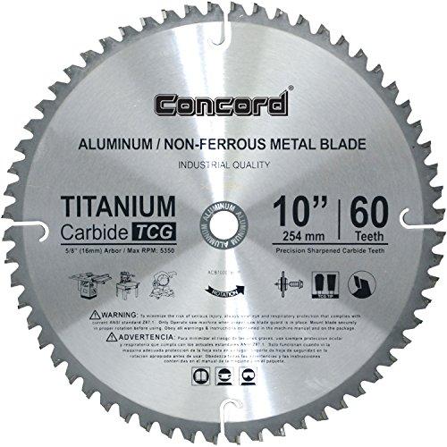 Concord Blades ACB1000T060HP 10-Inch 60 Teeth TCT Non-Ferrous Metal Saw (Grind Saw Blade)