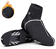 Cycling Shoe Covers, Cold-Proof and Waterproof Windproof Bike Bicycle Overshoes Cover for Men Women Thermal Wa