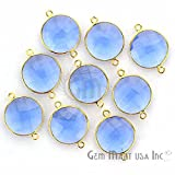 Tanzanite Bezel Connector 16mm Round 24k Gold Plated Double Bail By GemMartUSA