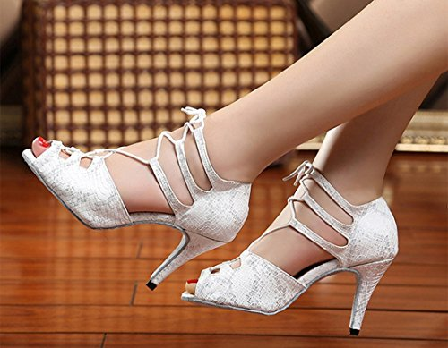 Joymod Prom MGM Lace Heel Wedding Women's Synthetic Snakeskin White Toe Sandals Formal Party up Dance Latin Peep Ballroom Tango Modern 5cm 8 Shoes FSSdcyZqw