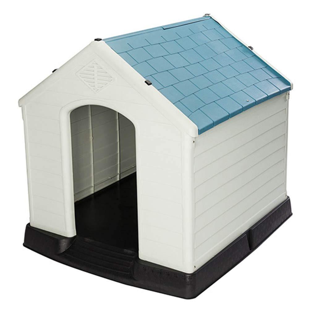 bluee Large bluee Large Hulinlian Removable Washable Plastic Large Dog House Outdoor Ventilation Large Pet Nest Dog Cat Cage,bluee,L