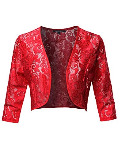 3/4 Sleeve Floral See-Through Lace Shrug Bolero Cardigan Top - Made in USA Red L