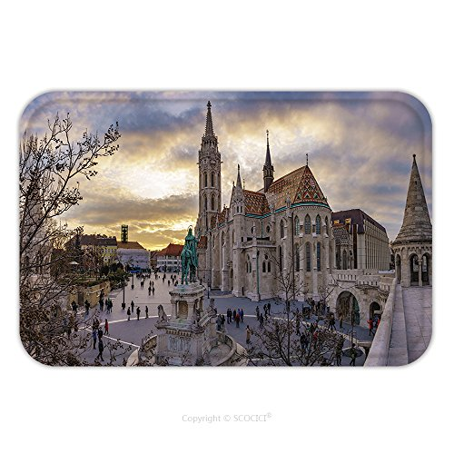 Flannel Microfiber Non-slip Rubber Backing Soft Absorbent Doormat Mat Rug Carpet Budapest Hungary March Panoramic View Of Fishermen S Bastion Square Centered The St 516502459 for (Costume Of Indian Fishermen)