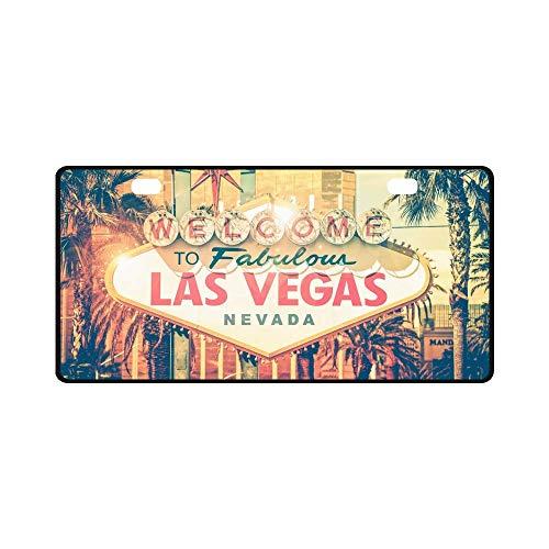 "INTERESTPRINT Vintage Las Vegas Boulevard Entrance Sign City View Automotive Metal License Plate Cover, Metal Car Tag for Woman Man - 11.8"" x 6.1"""