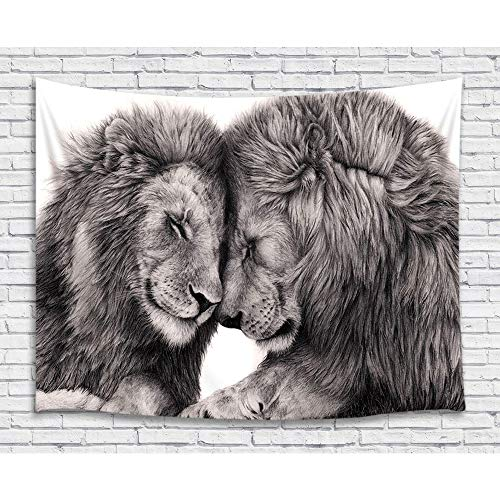 Animal Lion Tapestry Wall Hanging, African Wild Life Lion Couple Lover Black and White Art Premium Home Art Wall Decor, Upgrade Tapestries for Bedroom Living Room College Dorm 71X60 Inches