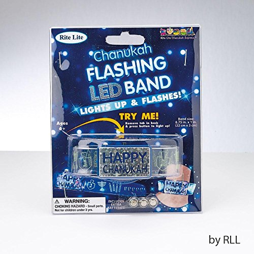 Chanukah Flashing LED band - Lights up and flashes -