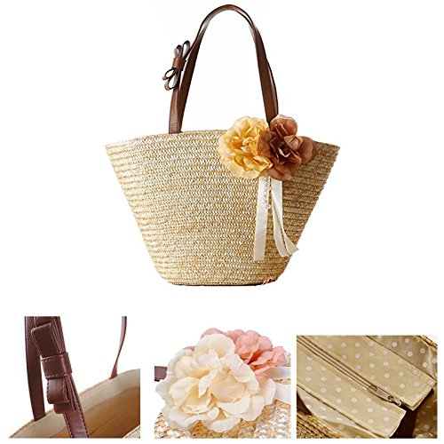 Handle Flower Pu Shoulder Beaded Abuyall Bow Bag Handbags Straw Woven Pt3 Ribbon Beach Women txqF8