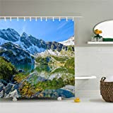 Bathroom shower curtain, mountains and streams, blue, green,Modern shower curtain, hidden space, mildew proof, waterproof, machine washable,Ladies and men special-purpose.Holiday gifts.