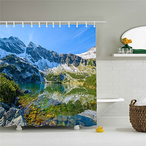 Bathroom shower curtain, mountains and streams, blue, green,Modern shower curtain, hidden space, mildew proof, waterproof, machine washable,Ladies and men special-purpose.Holiday gifts. by starlight-Bracele