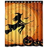 ZHANZZK Happy Halloween Witch Moon Pumkin Bats Bathroon Waterproof Shower Curtain 60x 72 Inches