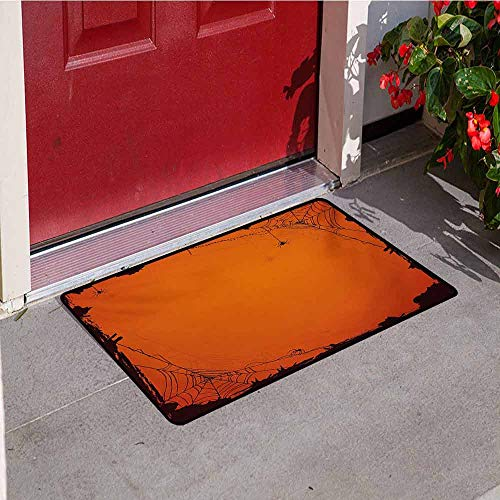 Jinguizi Spider Web Front Door mat Carpet Grunge Halloween Composition Scary Framework with Insects Abstract Cobweb Machine Washable Door mat W35.4 x L47.2 Inch Orange Brown