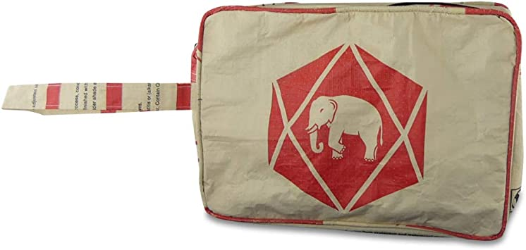 Upcycling Pack it - Neceser (Saco de Cemento y arroz) Elefant Beige Rot: Amazon.es: Equipaje