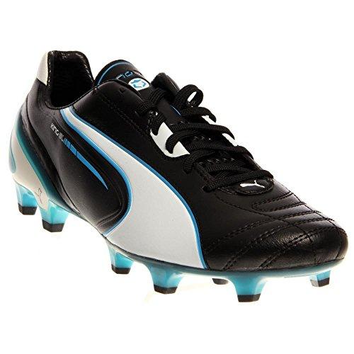 PUMA Men's King SL Firm Ground Soccer Shoe,Black/White/Fluorescent Blue,9.5 M US