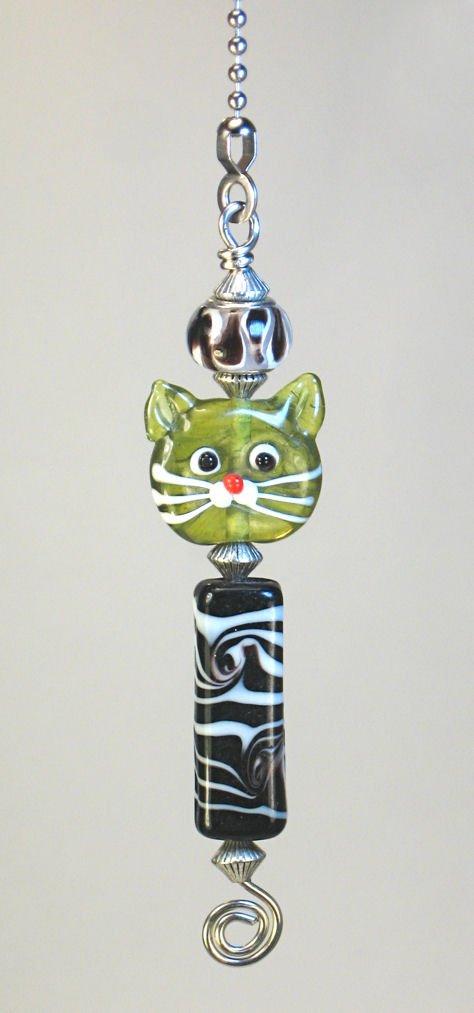 Black and White Zebra Stripe & Double-Sided Green Cat Glass Light or Ceiling Fan Pull