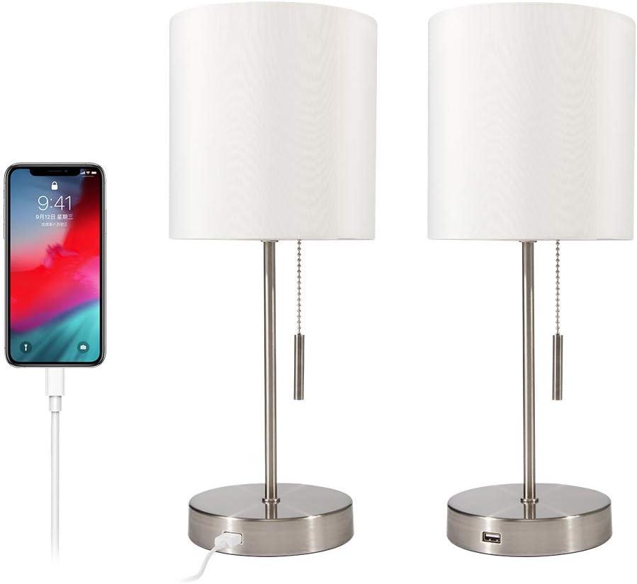 DEEPLITE USB Table Lamp Bedside Nightstand Lamp with USB Port, Modern Desk Lamp Ambient Light for Bedroom, Living Room, Office, Silver Metal Base, Cylinder Lampshade(Set of 2)