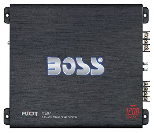 BOSS Audio R6002 - Riot 1200 Watt, 2 Channel, 2/4 Ohm Stable Class A/B, Full Range, Bridgeable, MOSFET Car Amplifier with Remote Subwoofer - Chesterfield Stores Outlet