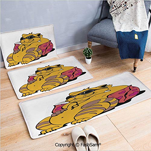 - 3 Piece Flannel Bath Carpet Non Slip Fat Tomcat with Glasses Lying on A Cushion Relaxing Lazy Kitty Pets Pillow Cartoon Front Door Mats Rugs for Home(W15.7xL23.6 by W19.6xL31.5 by W17.7xL53)