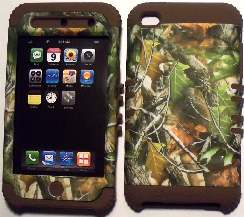 Camo Leaves on Brown Silicone Skin for Apple ipod Touch iTouch 4G 4 Hybrid 2 in 1 Rubber Cover Hard Case (Ipod 4g Case Camo)
