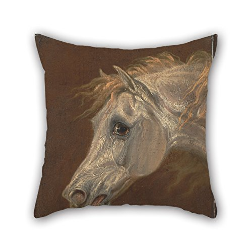 [The Oil Painting Martin Theodore Ward - Head Of A Grey Arabian Horse Pillowcase Of ,18 X 18 Inches / 45 By 45 Cm Decoration,gift For Lover,bedroom,shop,kitchen,home Theater,floor (two] (Diy Sushi Dog Costume)