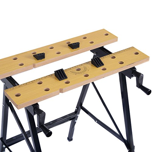Picotech Portable Work Bench 350-Pound Capacity Portable Steel Frame Wood Vise Jaws Durable Sturdy Compact Lightweight Adjustable Swivel Pegs No Warping No Swelling Dual Clamp Cranks Non-skid Feet by Picotech (Image #2)