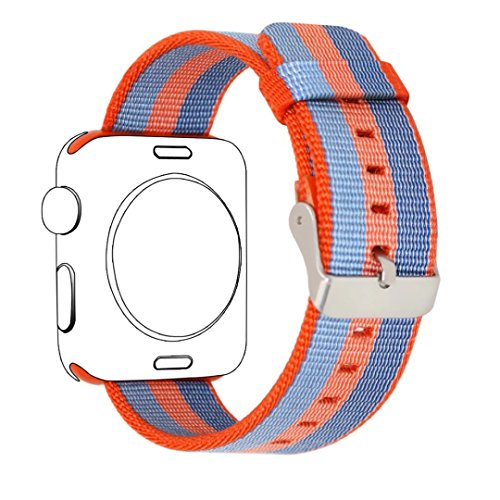 Yichan Woven Nylon Fabric Wrist Strap Replacement Band with Classic Square Stainless Steel Buckle for Apple iWatch Series 1 / 2,Sport & Edition,42mm,Orange