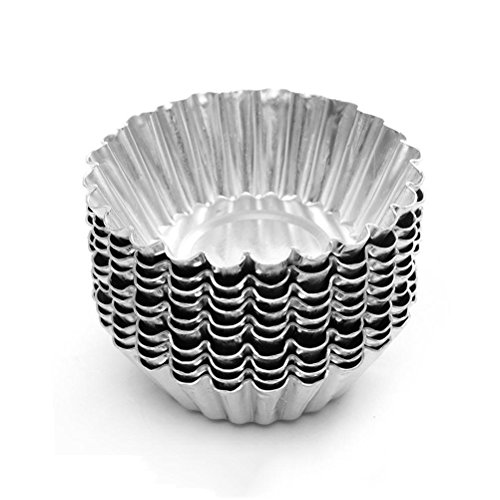 Bezall 20pcs Egg Tart Aluminum Cupcake Cake Cookie Mold Lined Mould Tin Baking Cups ()