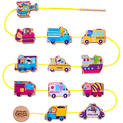 Wooden Lacing Beads Vehicle Block Set, Learning Educational Hand String Toy Cars Game w/ Jigsaw Puzzle Play Mat for 6, 9, 12 Months and 1, 2, 3, Year Olds Baby Girls Boys Toddlers Kids – iPlay, iLearn Small Wooden Cars
