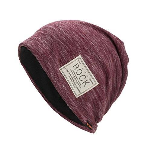NRUTUP Knit Hats Unisex, Autumn and Winter Pullover Cap Multifunction Slouchy Beanie for Jogging, Cycling.(Red,Free Size)