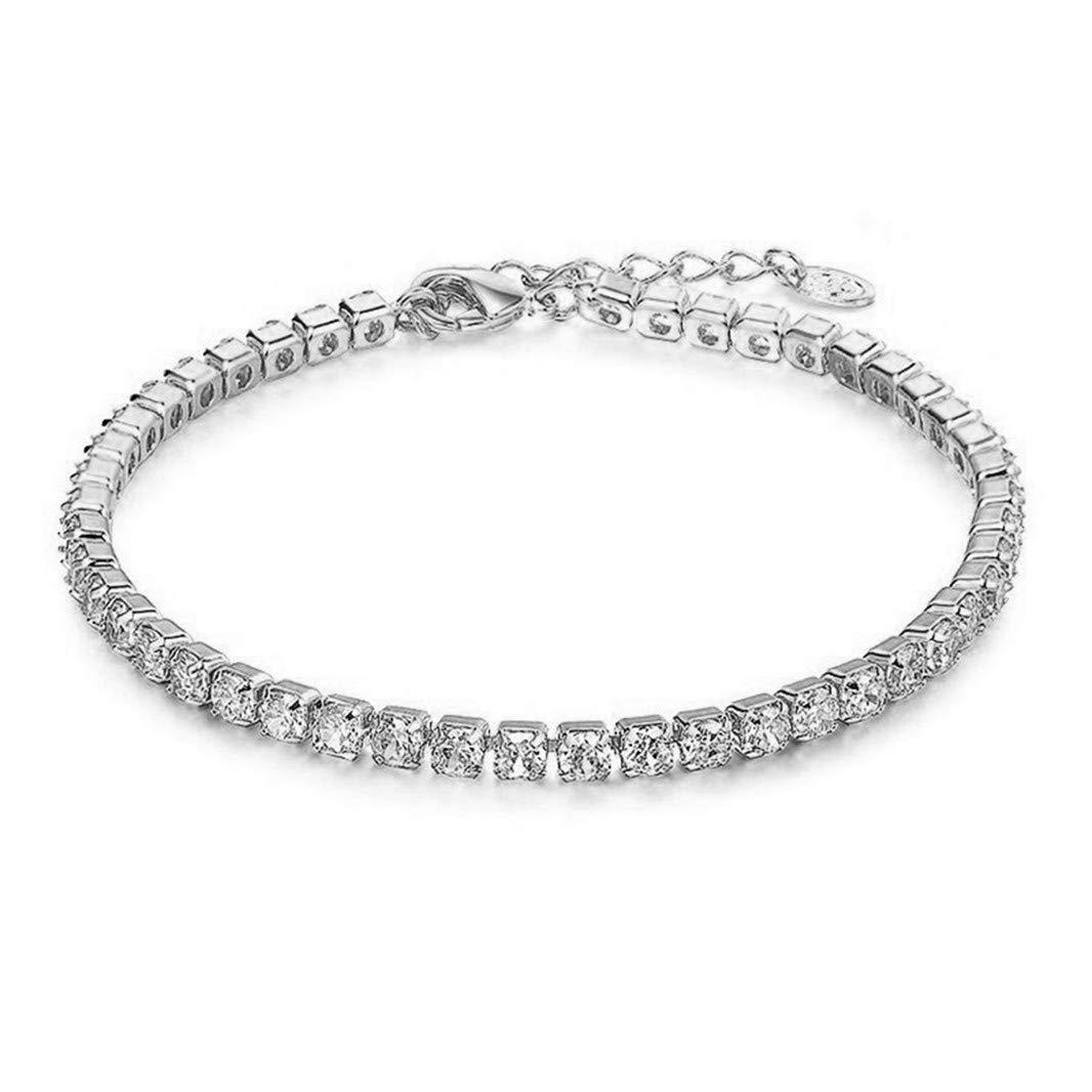 Sperrins Round Cubic Zirconia Classic Tennis Bracelet Silver Color