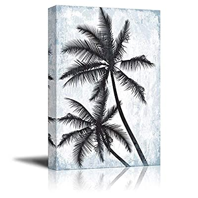 Canvas Wall Art - Tropical Palm Trees on Rustic Background - Giclee Print Gallery Wrap Modern Home Art Ready to Hang - 16x24 inches
