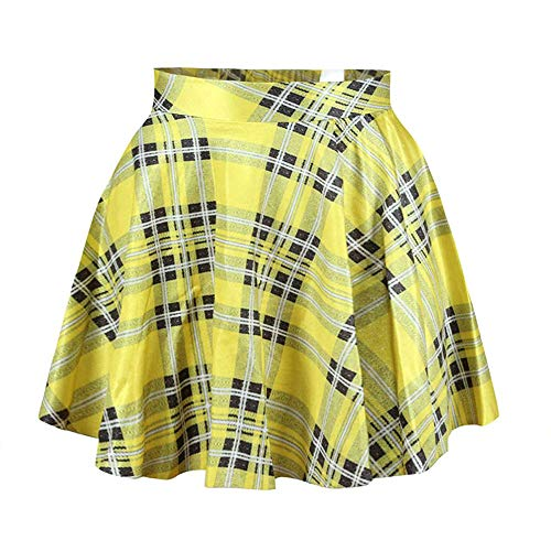 Womens Yellow Plaid Digital Print Stretchy Flared Pleated Casual Mini Skirt,OS]()