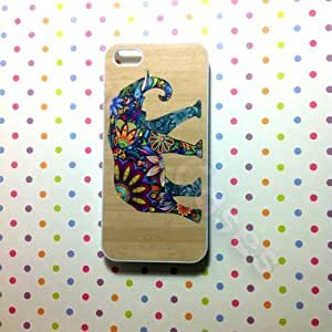 Iphone 5C,Iphone 5C Case,Colorful Flower Elephant on Wood TextureIphone 5C Cases,Iphone 5C Cover ,Iphone 5C Case, CuteIphone 5C Case