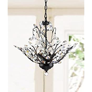 Holly 4 Light Antique Copper Crystal Leaves Chandelier