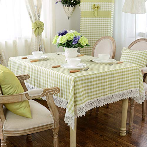 LUHEN Green White Checker lace Table Cloth Cotton Linen Japanese Style Minimalist Modern Dining Table Desk Square eco-Friendly Cloth Table Covering (Size : 110cm110cm)