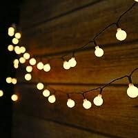 Guirnalda Luces Exterior Solar, 50LED 6.9m Cadena de Luces bolas led decorativas,IP44 Impermeable 8 Modos,Guirnaldas…