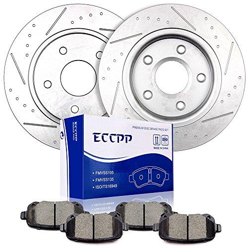 Brake Kits,ECCPP Rear Slotted Discs Brake Rotors and Ceramic Brake Pads for 2008-2012 Chrysler Town Country 2008-2011 Dodge Caravan 2009-2012 Dodge Journey 2009-2012 Volkswagen Routan ()