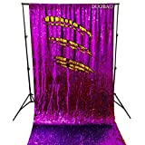 DUOBAO Sequin Backdrop 8Ft Mermaid Sequin Curtains Purple to Gold Reversible Shimmer Backdrop 6FTx8FT Sparkle Photo Backdrop