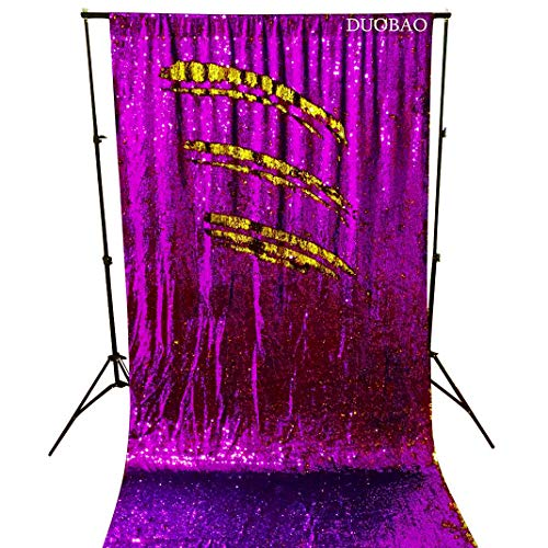 Sequin Curtains 2 Panels Purple to Gold Reversible Shimmer Backdrop Fabric 4FTx8FT Mermaid Sequin Backdrop Curtains for Wedding Party Decor by DUOBAO (Image #6)