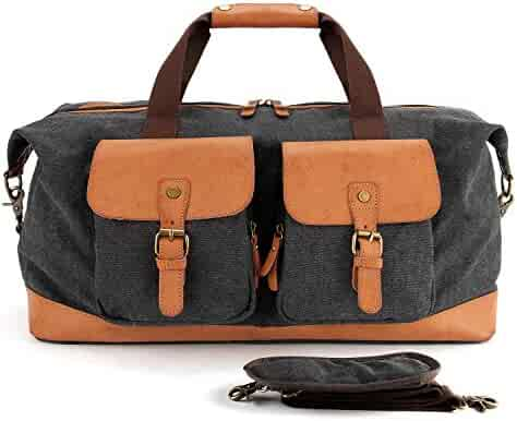 ce89ce95e0 YANGYANJING (57cm36cm28cm) Unisex s Duffle Bag Weekender Bag Gym bag  Genuine Leather Canvas Travel Tote