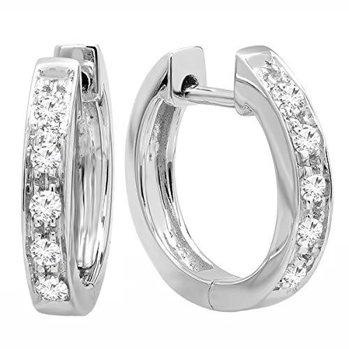 Dazzlingrock Collection 0.12 Carat (ctw) 18K Round Lab Grown White Diamond Ladies Huggie Hoop Earrings, White Gold