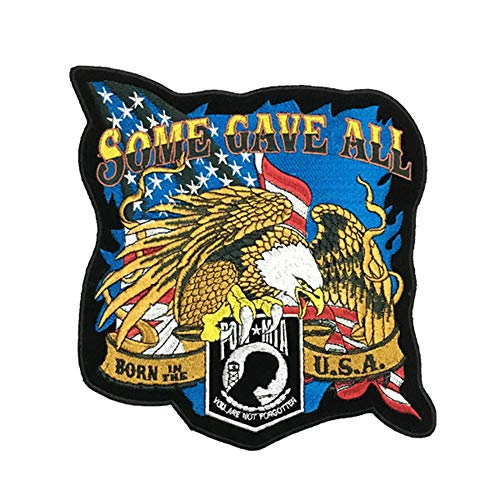 OYSTERBOY Large Rider Mighty Eagle Embroidered Patch - Some Gave All, Born in The USA, You are not Forgotten Biker Vest Jacket Back Patch