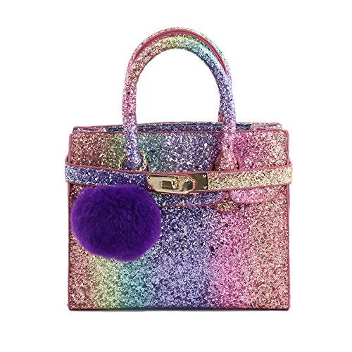 CMK Trendy Kids Chunky Glitter Rainbow Crossbody Handbags Purses for Girls With Purple Poms (80013_Rainbow)