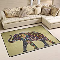 LORVIES Painting Elephant Area Rug Carpet Non-Slip Floor Mat Doormats for Living Room Bedroom 36 x 24 inches