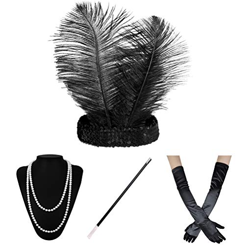 Xuhan 1920s Accessories Set for Women Headband Necklace Gloves Cigarette Holder -