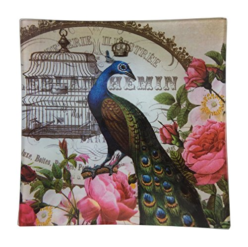 French Decor Square Glass Tray, Peacock and Roses wall decorations