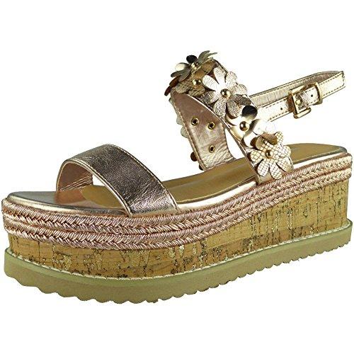 Womens Wedding Wedge Sizes Summer Loud 8 3 Ladies Flatform Peeptoe Shoes Sandals Champagne Look Platform aqzn0z4Z