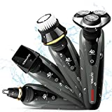 YOHOOLYO Electric Shaver Rotary Shavers Wet and Dry Waterproof Electric Razor with Nose Trimmer Sideburns Cutter for Men