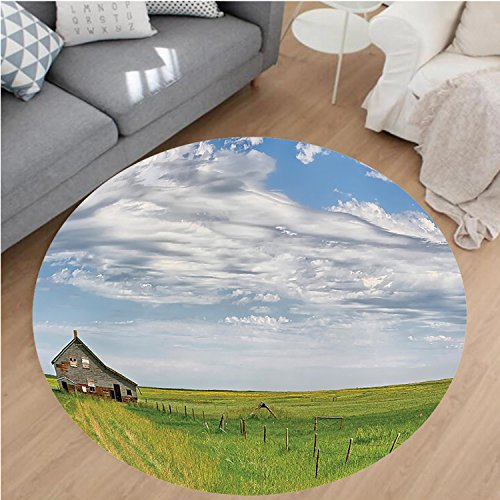 Nalahome Modern Flannel Microfiber Non-Slip Machine Washable Round Area Rug-Rustic Canadian Timber House in Terrain Grassland with Clouds in Air Landscape Green Blue Area Rugs Home Decor-Round 59